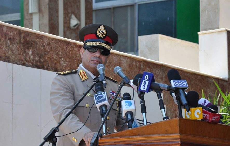 "Minister of Defence Abdul Fatah Al-Sisi has called on Egyptians to take to the streets on Friday to authorise the army to ""confront violence and terrorism."" (Photo from Military Spokesman Facebook Page)"