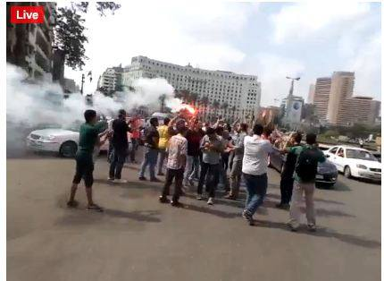 Students Anti Coup organised a protest in Tahrir Square, ahead of scheduled visit (Photo from Student Anti Coup)