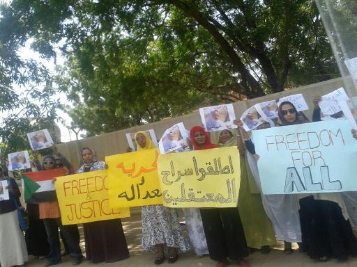 Sudanese women hold placards during a protest calling for the release of prisoners held in a crackdown after protests over fuel price hikes in Khartoum on October 3, 2013 (AFP/File)