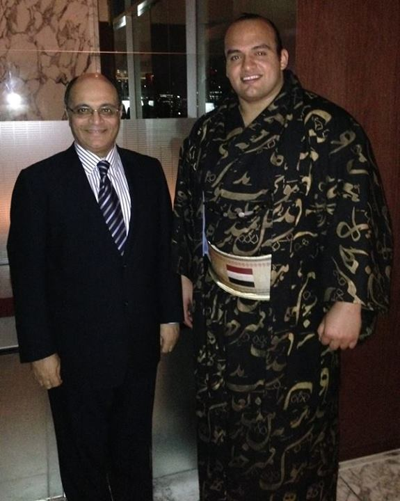 Egyptian Sumo wrestler Abdelrahman Shaalan, who was honoured during the opening event of the Arabic-Japanese friendship week with Egypt's Ambassador to Japan Hesham El-Zemeity