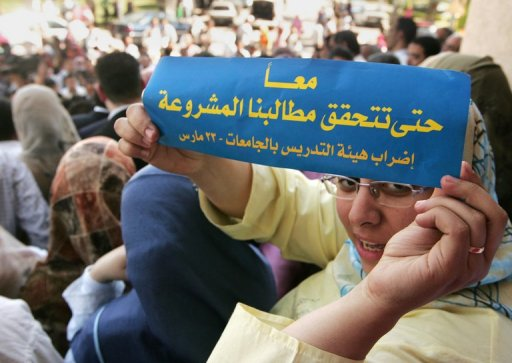 Egyptian teachers and university lecturers hold a strike outside Cairo University in 2008  (AFP/File, Cris Bouroncle)