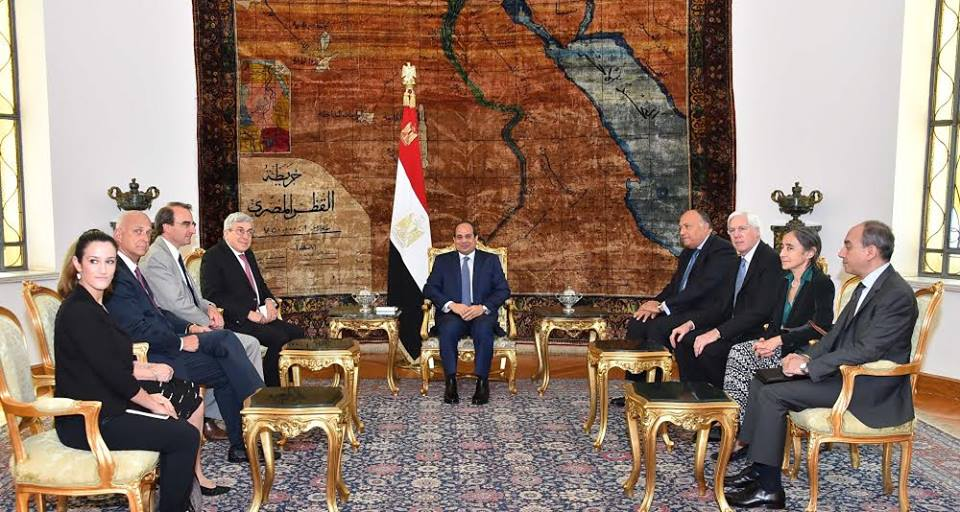 The American Jewish Committee (AJC) delegation was received by President Abdel Fattah Al-Sisi later that day to discuss terrorism, as well as the Palestinian cause. (Photo Presidency Handout)