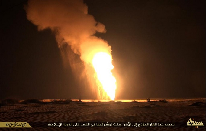 while the militants' Twitter account claimed a bombing of the Arab Gas Pipeline