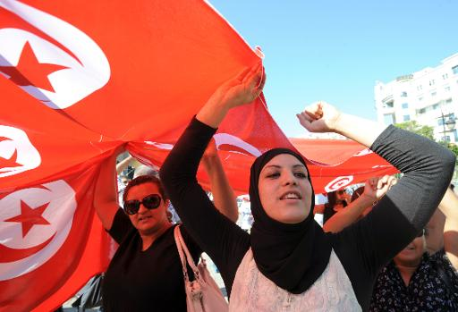 Tunisian women during a demonstration in solidarity with policemen and security forces on October 28, 2013 in Tunis  (AFP/File, Fethi Belaid)