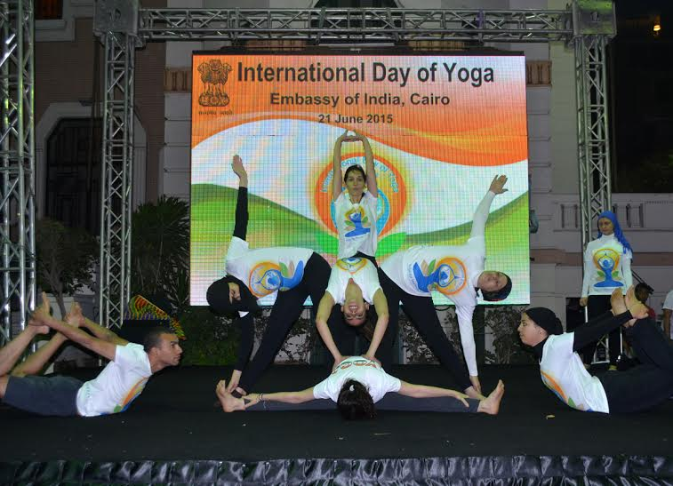 The celebration contained performing several types of Yoga  (Handout Photo)
