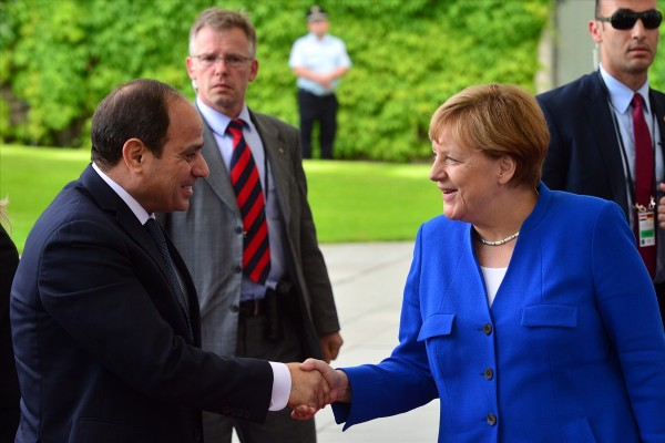 Egypt's President Abdel Fattah Al-Sisi with German Chancellor Angela Merkel