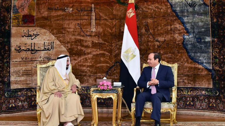 Al-Sisi receives ruler of Sharjah, hails UAE efforts in supporting