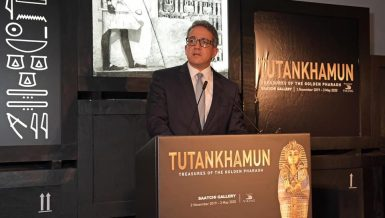 Egypt's Minister of Antiquities, Khaled Anany, inaugurated Tutankhamun temporary exhibition on Friday in London