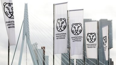 Rotterdam, 30-01-2018. IFFR2018. Banieren aan de voet van de Erasmusbrug tijdens het IFFR. Foto Bas Czerwinski