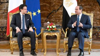 Egypt President Abdel Fattah Al-Sisi and Italian Prime Minister Giuseppe Conte on Friday discussed means of economic and military cooperation, according to a statement posted by Egyptian presidency on its Facebook page.