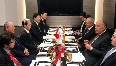 Japanese Minister of Foreign Affairs, Taro Kono, visited Egypt to participate in the ministerial meeting of the first Japan-Arab Political Dialogue, as well as to hold bilateral meetings Minister of Foreign Affairs Sameh Shoukry