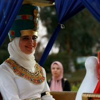 the bride wearing ancient Egyptian costume