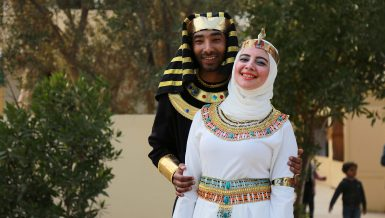Couple dressing as ancient Egyptians