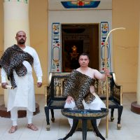man dressed like ancient Egyptian priest
