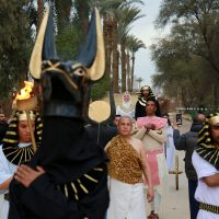 Anubis in Couple marrying in ancient Egyptian ritual