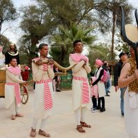 Couple marrying in ancient Egyptian ritual