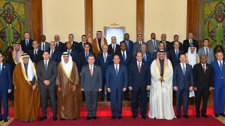 Egypt's President Abdel Fattah Al-Sisi with intelligence chiefs participating in Arab intelligence Forum in Cairo