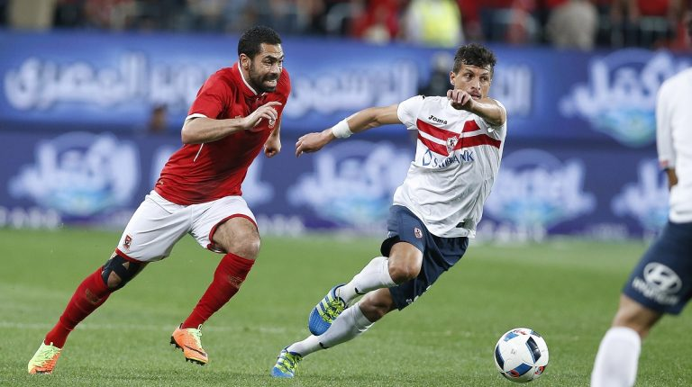 Two players from Al Ahly and Zamalek during a previous derby match