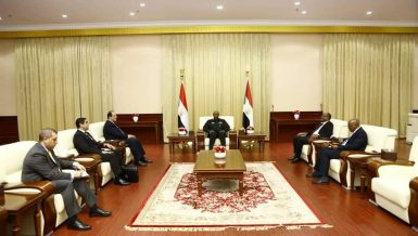 Head of Egypt General Intelligence Service Abbas Kamel with the head of Sudan ruling Soverign Council Abdel Fattah Al Burhan