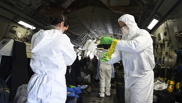 Medical workers wearing PPE during coronavirus pandemic