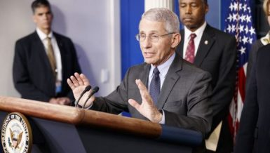 Anthony Fauci (front), director of the U.S. National Institute of Allergy and Infectious Diseases (NIAID), speaks during a press conference on the coronavirus (Photo by Ting Shen/Xinhua) COVId-19 vaccine