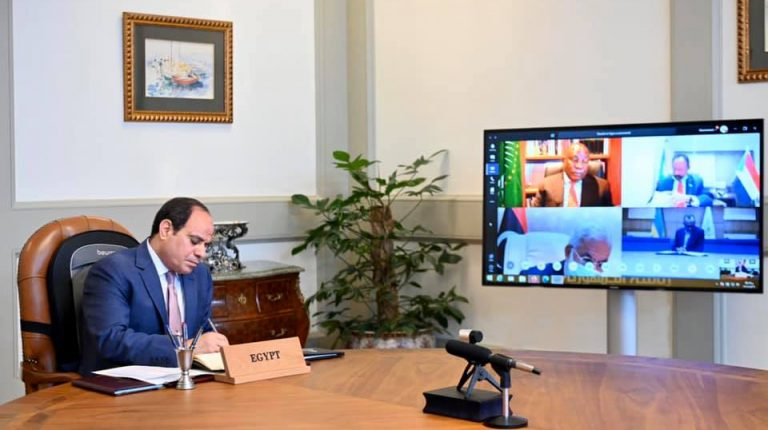 Egyptian President Abdel-Fattah al-Sisi on Wednesday attended with his African counterparts a virtual mini-summit held by the African Union (AU) to discuss joint efforts to combat COVID-19 pandemic