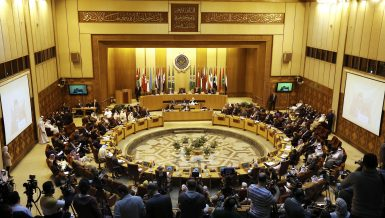 The extraordinary session of the Arab League foreign ministers meets to discuss the situation in the Palestinian territories at the Arab League headquarters in Cairo, Egypt, Sunday, April 21, 2019. (AP Photo/Amr Nabil)