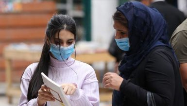 Two women wearing facemasks in Algeria amid coronavirus outbreak