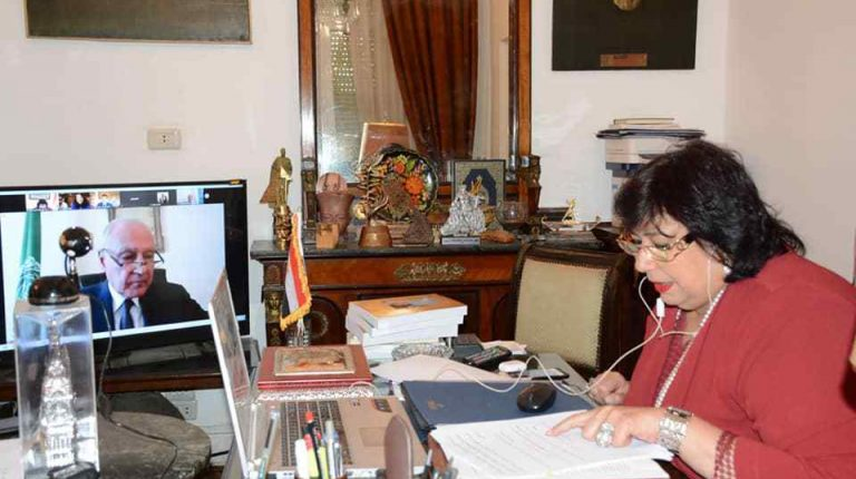 Egyptian Minister of Culture Ines Abdel-Dayem chaired the first extraordinary teleconference meeting for Arab Ministers of Culture