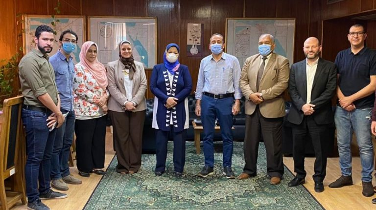 Egyptian Electricity Transmission Company (EETC) Chairperson Sabah Mashaly with El-Sewedy Electric officials