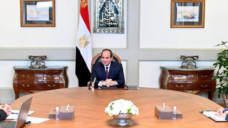 President Abdel Fattah Al-Sisi with Prime Minister Moustafa Madbouly COVID-19 in Egypt ( coronavirus)