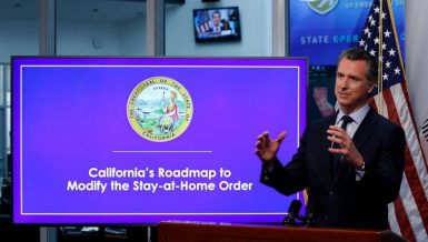 California Governor Gavin Newsom announce second stage of COVID-19 reopening