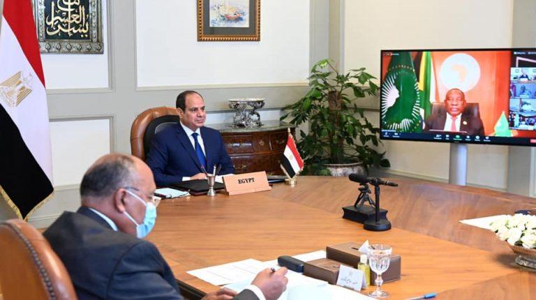 Egypt President Abdel Fattah Al-Sisi during Egypt Ethiopia Sudan GERD African Union Summit