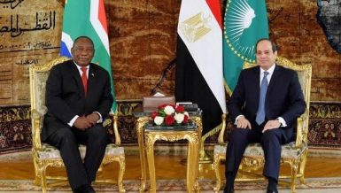 Egypt's President Abdel Fattah Al-Sisi and South Africa President Cyril Ramaphosa
