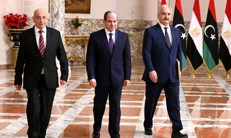 Egypt President Abdel Fattah Al-Sisi with Libya's head of the House of Representatives Aguila Saleh and head of the Libyan National Army (LNA) Khalifa Haftar during Cairo Declaration
