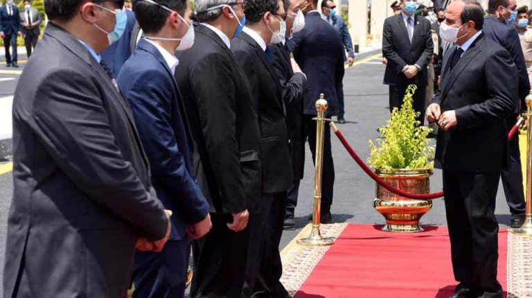 President Al-Sisi, generals, state officials, and soldiers congregated to bid farewell to the Minister of State for Military Production Mohamed El-Assar.