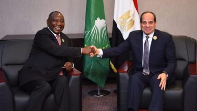 Egypt President Abdel Fattah Al-Sisi discussed GERD developmentswith South African President and Chairperson of the African Union Cyril Ramaphosa