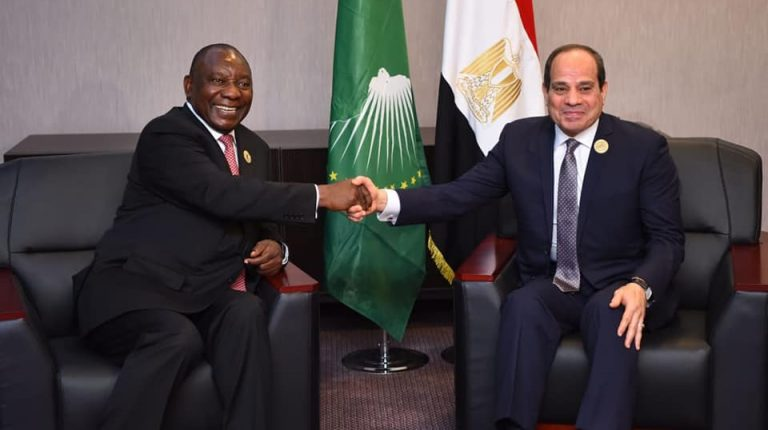Egypt President Abdel Fattah Al-Sisi discussed GERD developments with South African President and Chairperson of the African Union Cyril Ramaphosa