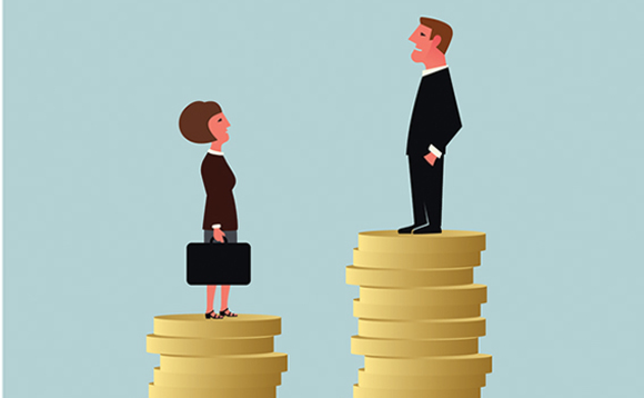 An illustration of a woman standing on fewer coins compared to the man representing the gender gap in payment Daily News Egypt