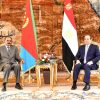 Egypt's President Abdel Fattah Al-Sisi during his meeting with the Eritrean President Isaias Afwerki at Al-Itahaidia Palace in Cairo