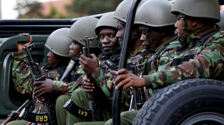 Kenyan police fighting Al-Shabab militants