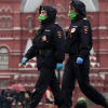 Security officers wearing face masks in Russia capital Moscow amid coronavirus (COVID-19) pandemic