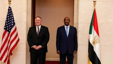 Chairman of Sudan Sovereign Council Abdel Fattah Al-Burhan with US Secretary of State Mike Pompeo in Khartoum Daily News Egypt