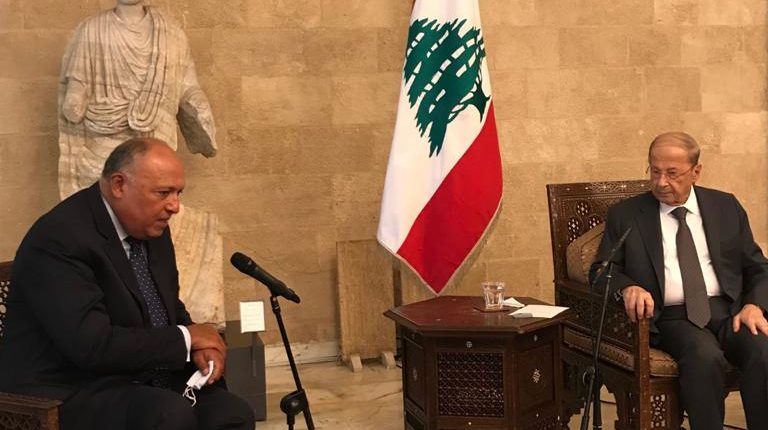 Egyptian Foreign Minister Sameh Shoukry in Lebanon with President Michel Aoun Daily News Egypt