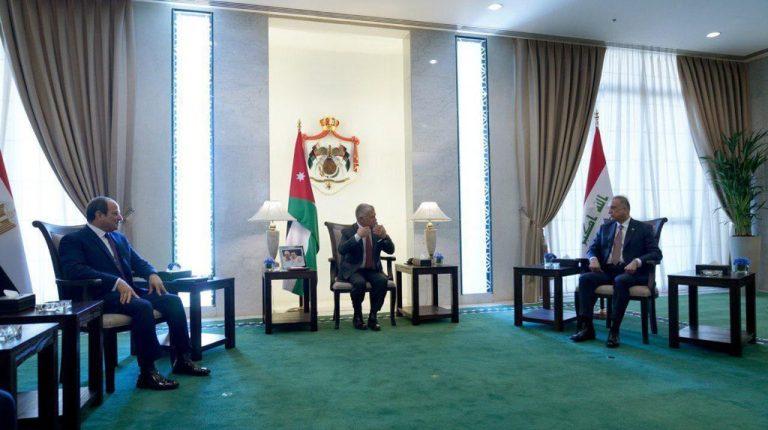 President Abdel Fattah Al-Sisi with King Abdullah II of Jordan and Iraq's Prime Minister Mustafa Al-Kadhimi Daily News Egypt