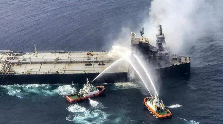 Burning oil tanker in Indian Ocean towed away from Sri Lankan shores