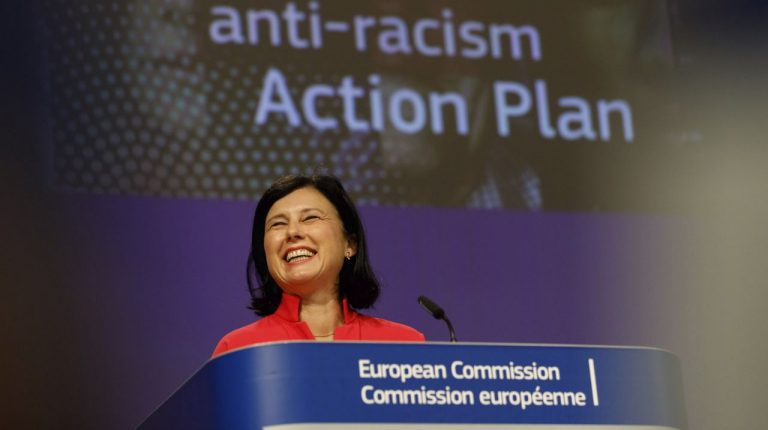 European Commission Vice-President for Values and Transparency Vera Jourova during the press conference to launch the EU action plan against racism