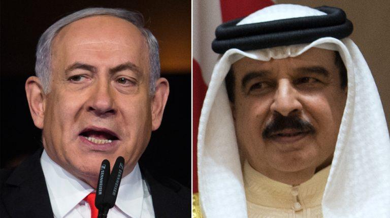 Israeli Prime Minister Benjamin Netanyahu and Bahrain King Hamad bin Isa Al Khalifa