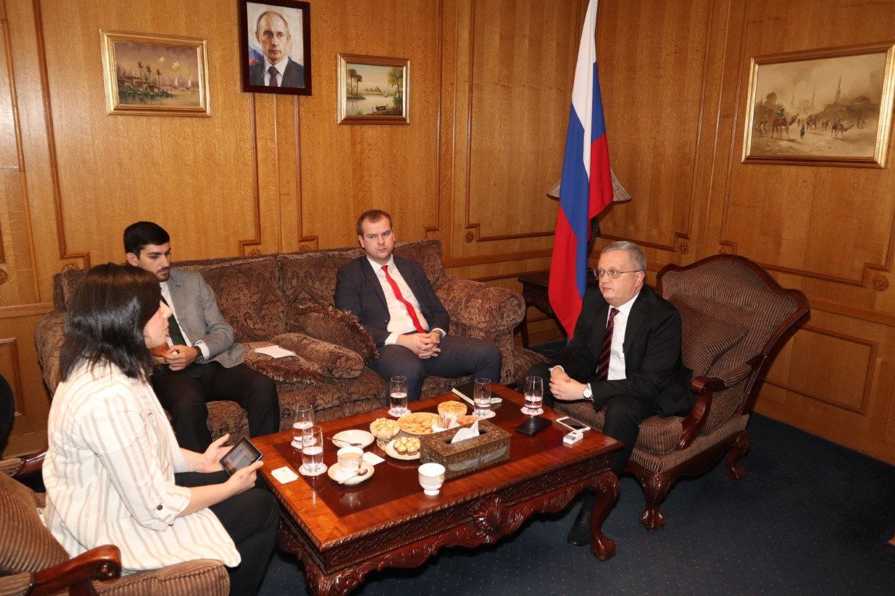 Russian Ambassador to Egypt, Georgiy Borisenko during an interview with Daily News Egypt