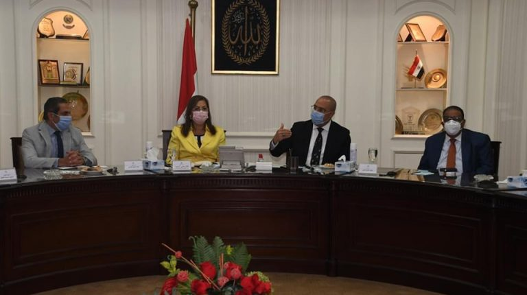 Hala El Said, Minister of Planning and Economic Development and Chairperson of The Sovereign Fund of Egypt (TSFE), Ayman Soliman TSFE CEO during a meeting with Minister of Housing Assem El-Gazzar Daily News Egypt